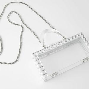 Zara Transparent Clear Mini Box Bag with Studs